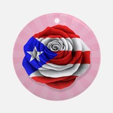 Puerto Rican Rose Flag on Pink Ornament (Round)