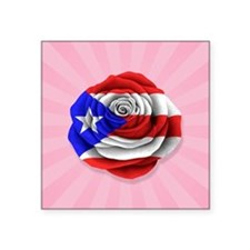 Puerto Rican Rose Flag on Pink Sticker