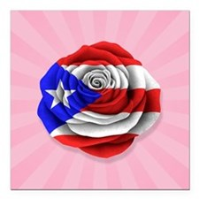 Puerto Rican Rose Flag on Pink Square Car Magnet 3