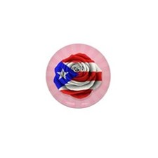 Puerto Rican Rose Flag on Pink Mini Button