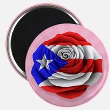 Puerto Rican Rose Flag on Pink Magnets