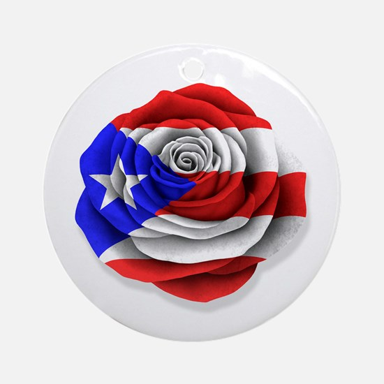 Puerto Rican Rose Flag on White Ornament (Round)