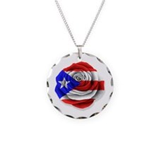 Puerto Rican Rose Flag on White Necklace