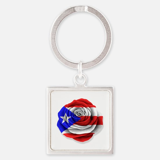 Puerto Rican Rose Flag on White Keychains