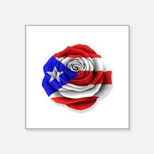 Puerto Rican Rose Flag on White Sticker