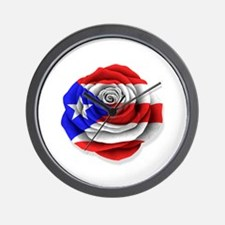 Puerto Rican Rose Flag on White Wall Clock