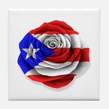 Puerto Rican Rose Flag on White Tile Coaster