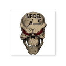 "Red Eyed Infidel Skull Square Sticker 3"" x 3&"