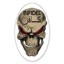 Red Eyed Infidel Skull Decal