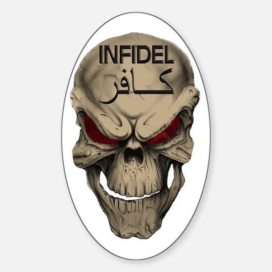 Red Eyed Infidel Skull Sticker (Oval)