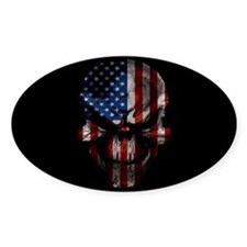 Flag & Skull on Black Decal
