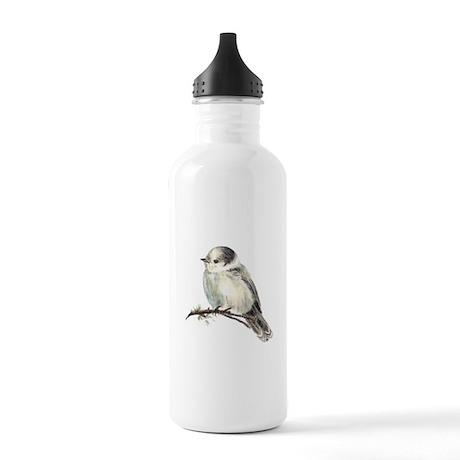 Cute Friendly Canada, Gray or Grey Jay Water Bottl