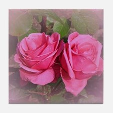 Pink Rose Buds Tile Coaster