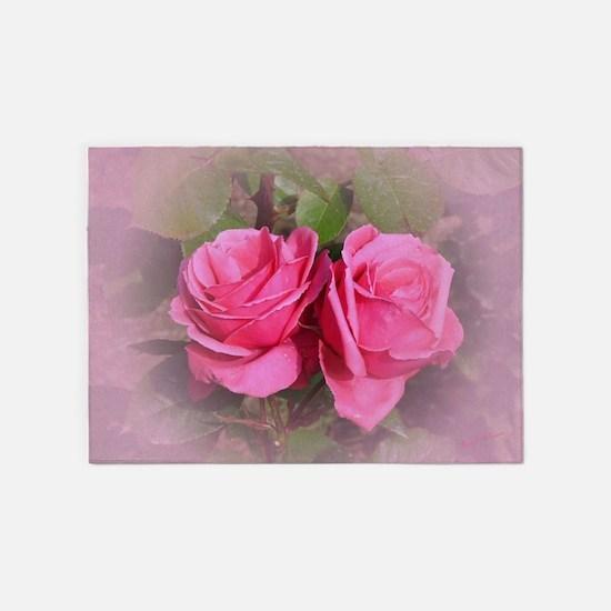 Pink Rose Buds 5'x7'Area Rug