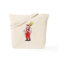 Janitor Cleaner Holding Broom Standing Cartoon Tot