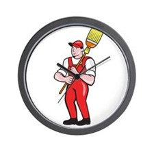 Janitor Cleaner Holding Broom Standing Cartoon Wal