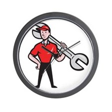 Mechanic Hold Spanner On Shoulder Cartoon Wall Clo