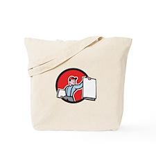 Newsboy Selling Newspaper Circle Cartoon Tote Bag