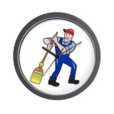 Janitor Cleaner Holding Mop Bucket Cartoon Wall Cl