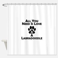 Love And A Labradoodle Shower Curtain