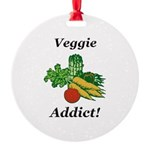 Veggie Addict Round Ornament