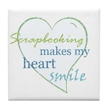 Scrapbooking makes my heart smile Tile Coaster