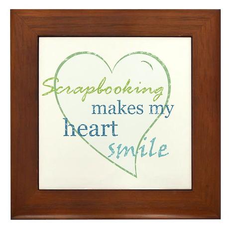 Scrapbooking makes my heart smile Framed Tile
