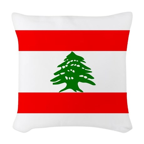 Lebanon Flag Woven Throw Pillow