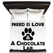 Love And A Chocolate Lab King Duvet