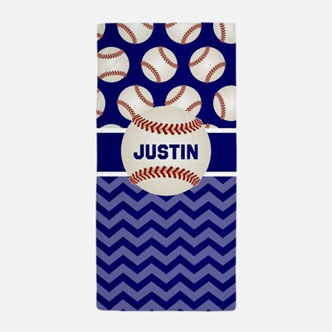 Baseball Blue Personalized Beach Towel