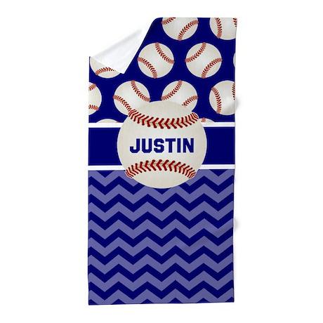 Baseball Blue Personalized Beach Towel