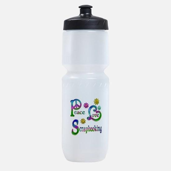 Peace Love Scrapbooking Sports Bottle