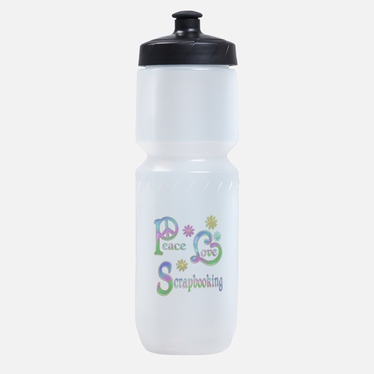 Peace Love Scrapbooking Sports Bottle