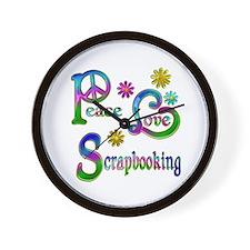 Peace Love Scrapbooking Wall Clock