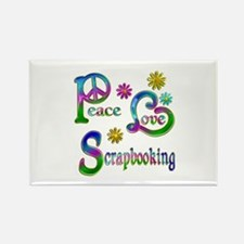 Peace Love Scrapbooking Rectangle Magnet