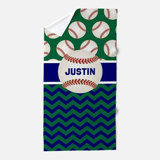 Baseball Green Blue Personalized Beach Towel