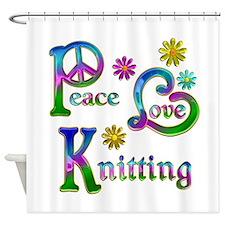 Peace Love Knitting Shower Curtain