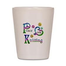 Peace Love Knitting Shot Glass