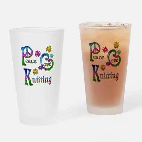 Peace Love Knitting Drinking Glass