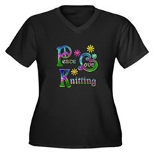Peace Love K Women's Plus Size V-Neck Dark T-Shirt