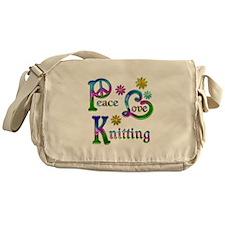 Peace Love Knitting Messenger Bag