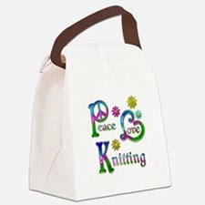 Peace Love Knitting Canvas Lunch Bag