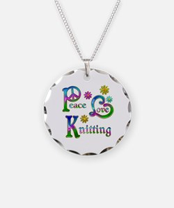 Peace Love Knitting Necklace