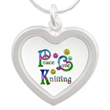 Peace Love Knitting Silver Heart Necklace