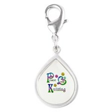 Peace Love Knitting Silver Teardrop Charm