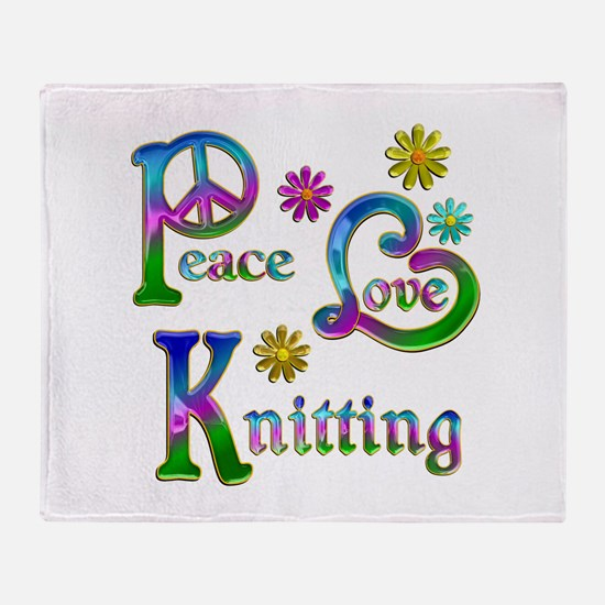Peace Love Knitting Throw Blanket