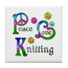 Peace Love Knitting Tile Coaster