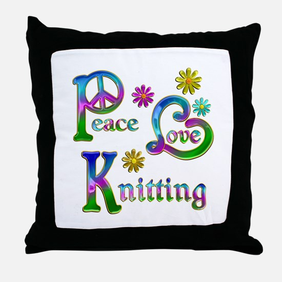 Peace Love Knitting Throw Pillow
