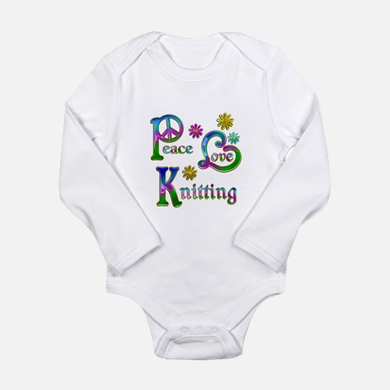 Peace Love Knitting Long Sleeve Infant Bodysuit