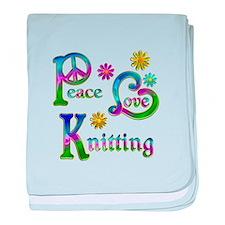 Peace Love Knitting baby blanket